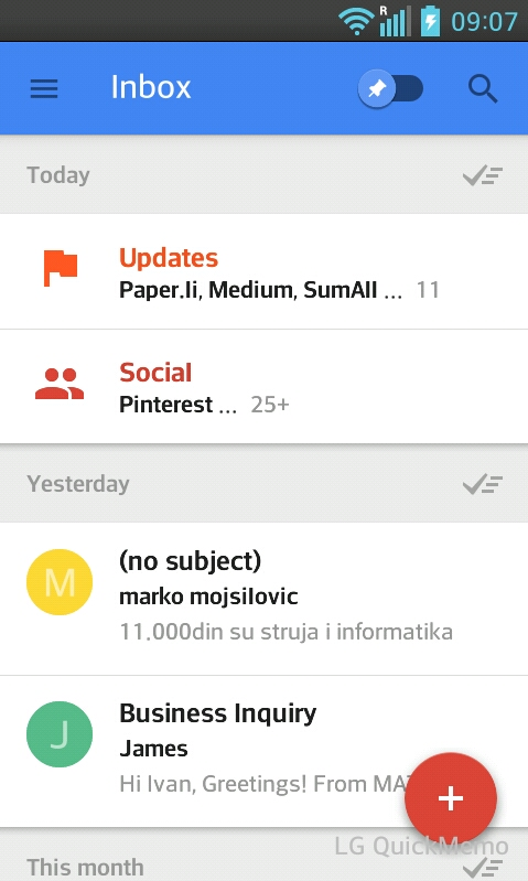 Inbox by Gmail bundling emails