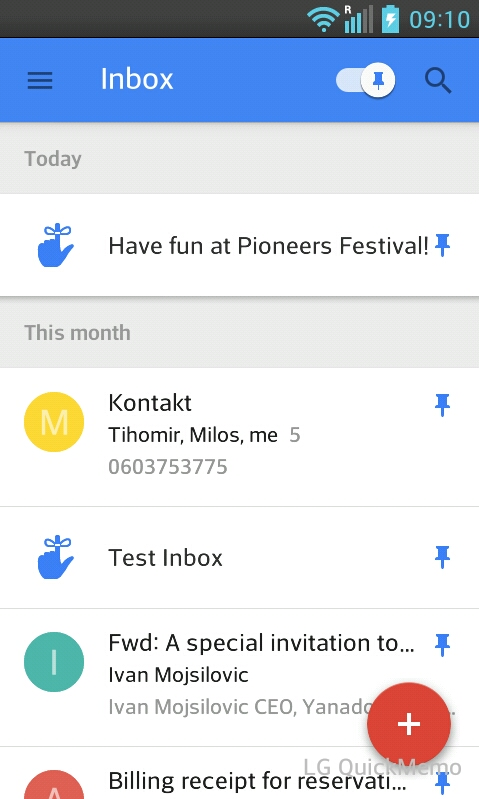 Inbox by Gmail pinned emails
