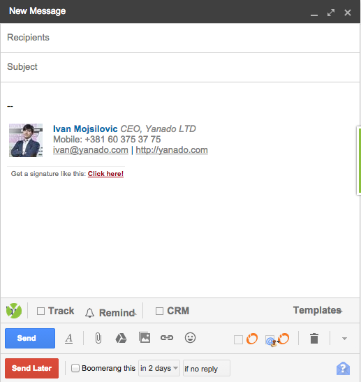 boomerang inside gmail compose
