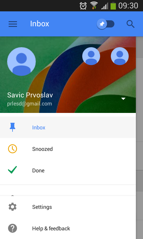 Inbox by Gmail left menu options