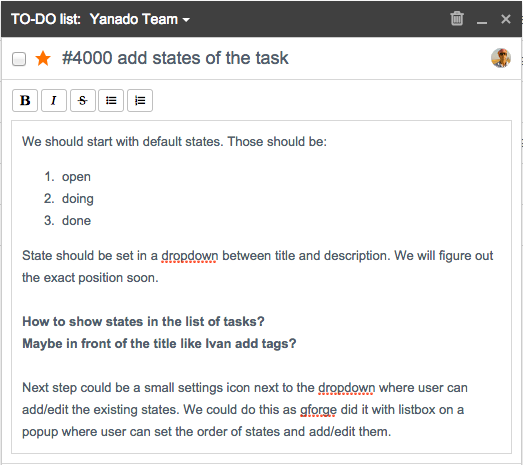 task details in Yanado