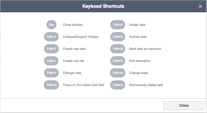 yanado keyboard shortcuts list