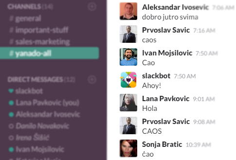 Yanado Slack group channel