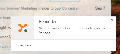 Yanado in-app reminder notification