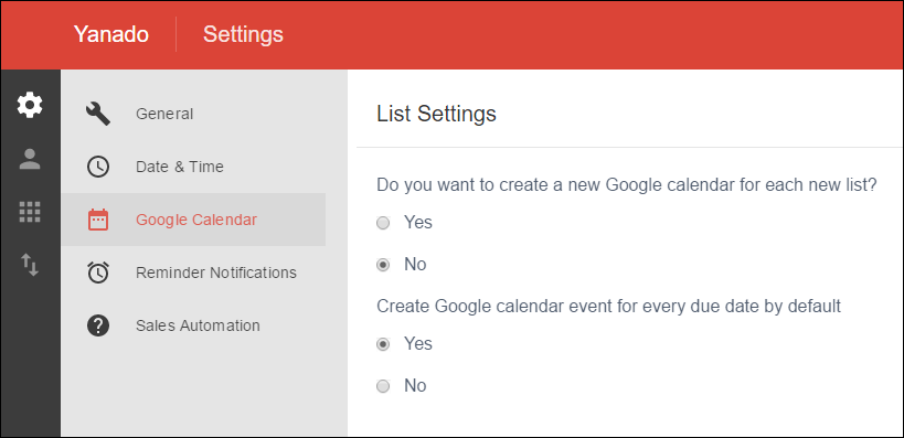Yanado Google Calendar Settings