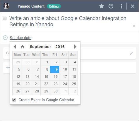 Google Calendar Event Yanado