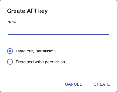create API key dialog on Yanado